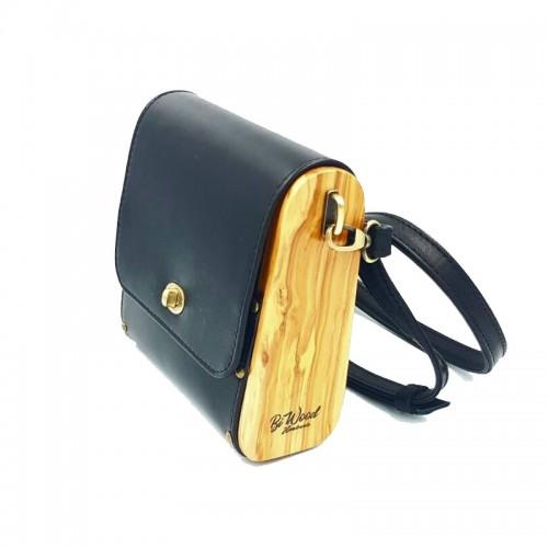 BiWood Χειροποίητη τσάντα από ξύλο ελιάς & δέρμα μαύρο