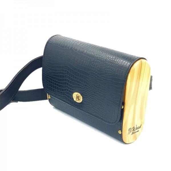 BiWood Χειροποίητη τσάντα από ξύλο ελιάς & δέρμα μαύρο κροκό