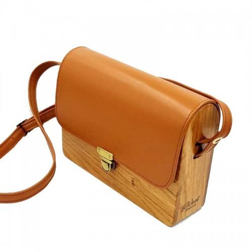 BiWood Χειροποίητη τσάντα από ξύλο δρυς & δέρμα ταμπά