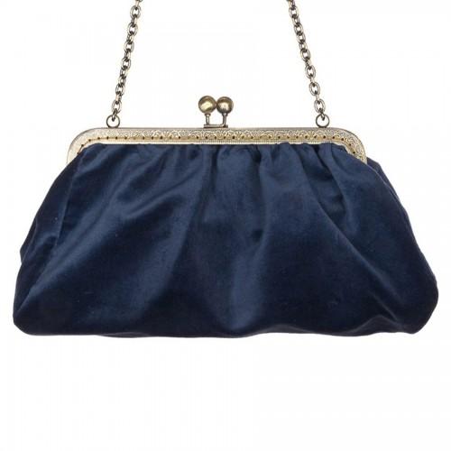 Dafne Χειροποίητο τσαντάκι velvet cotton eco Μπλε