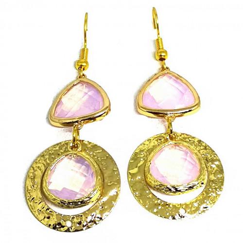 Χειροποίητα Σκουλαρίκια με Ροζ Διάφανα Κρύσταλλα σε Χρυσό