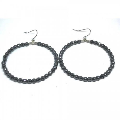 Σκουλαρίκια Κρίκοι Αιματίτη Ταγιέ Μαύρο 5cm