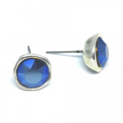 Σκουλαρίκια με πέτρες Swarovski σε χρώμα μπλε μεταλλικό