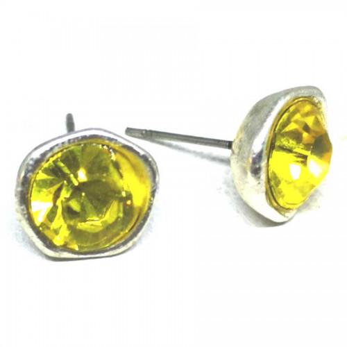 Σκουλαρίκια με πέτρες Swarovski σε χρώμα χρυσό λαδί