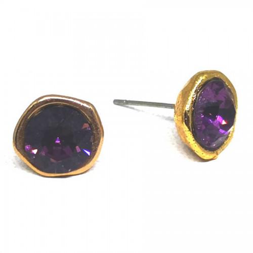 Σκουλαρίκια με πέτρες Swarovski σε χρώμα μενεξεδί