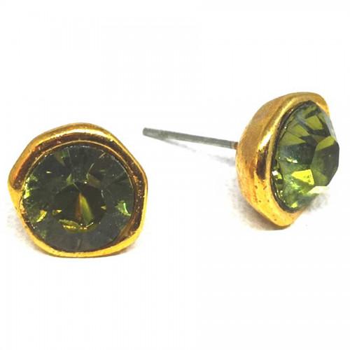 Σκουλαρίκια με πέτρες Swarovski σε χρώμα λαδί