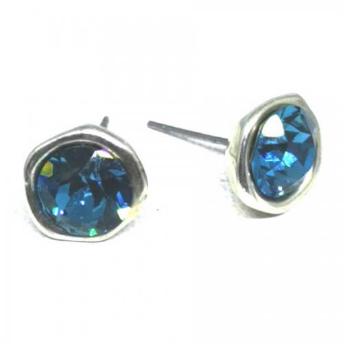 Σκουλαρίκια με πέτρες Swarovski σε χρώμα πετρόλ