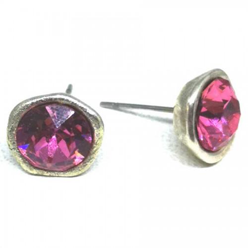 Σκουλαρίκια με πέτρες Swarovski σε χρώμα ροζ καραμέλα
