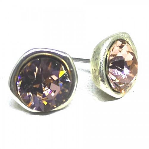 Σκουλαρίκια με πέτρες Swarovski σε χρώμα πούδρας