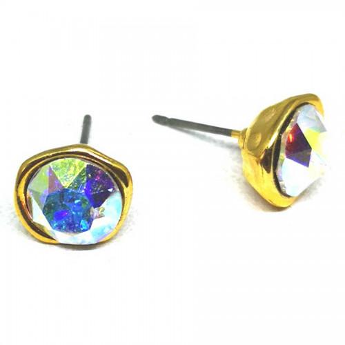 Σκουλαρίκια με πέτρες Swarovski σε χρώμα διάφανο μεταλιζέ
