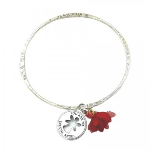 Γούρι Βραχιόλι μονό Ασημί My Angel με λουλούδι