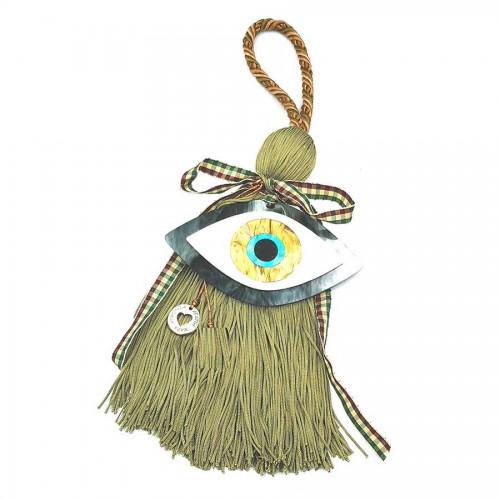 Γούρι Χειροποίητη Μεταξωτή Φούντα Χρώμα Ελιάς με Πλέξιγκλάς Μάτι