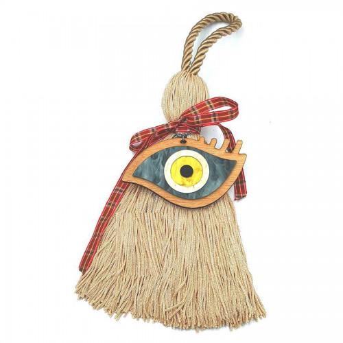 Γούρι Χειροποίητη Μεταξωτή Φούντα Χρώμα της Άμμου με Ξύλινο Μάτι