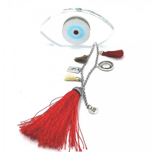 Γούρι Διάφανο Μάτι 13Χ8 με Κόκκινη Φούντα