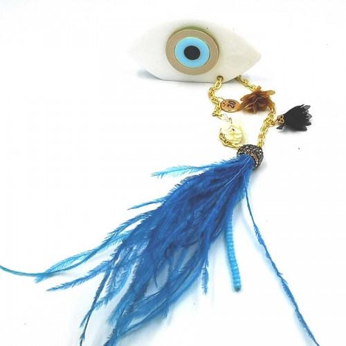 Γούρι Λευκό Μάτι 7Χ4 με Οινοπνευματί Φτερό