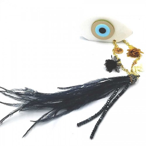 Γούρι Λευκό Μάτι 5Χ7 με Μαύρο Φτερό