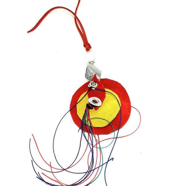 Χειροποίητο κρεμαστό με διπλό δερμάτινο κύκλο κόκκινο - κίτρινο