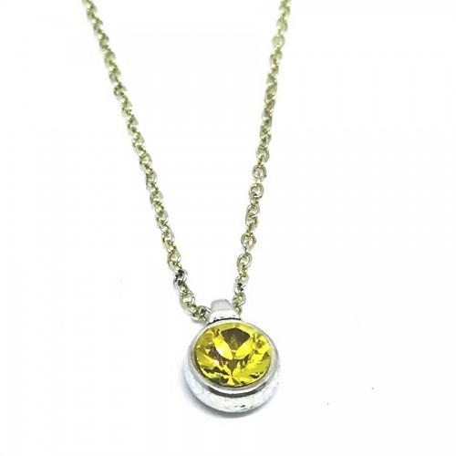 Χειροποίητο Κολιέ με πέτρα Swarovski σε Χρυσό Λαδί