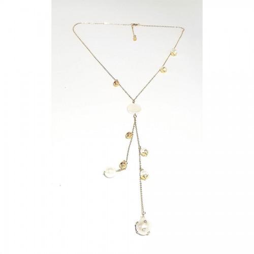 Μακρύ κολιέ με χρυσή ατσάλινη αλυσίδα και διάφορα μαργαριτάρια