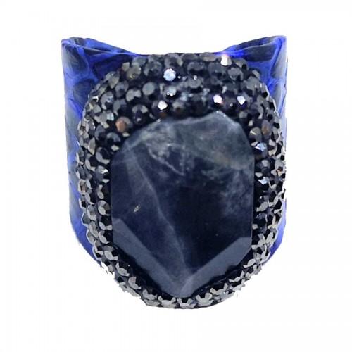 Δαχτυλίδι Μπλε Δέρμα με Ημιπολύτιμη Πέτρα Αχάτη Αυξομειούμενο