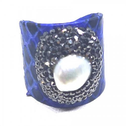 Δαχτυλίδι Μπλε Δέρμα με Μαργαριτάρι Αυξομειούμενο