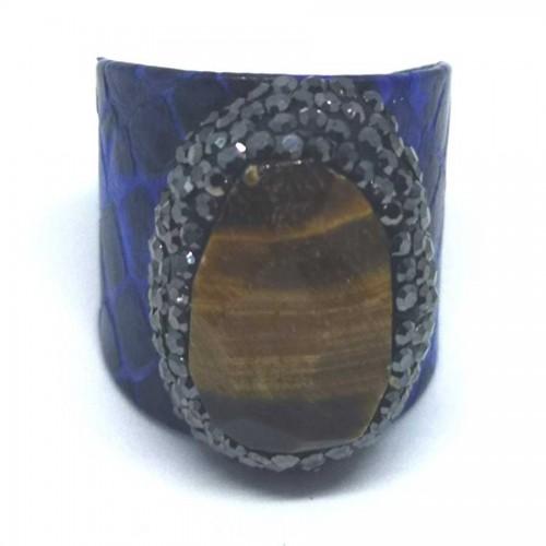 Δαχτυλίδι Μπλε Δέρμα με Ημιπολύτιμη Πέτρα Μάτι της Τίγρης Αυξομειούμενο
