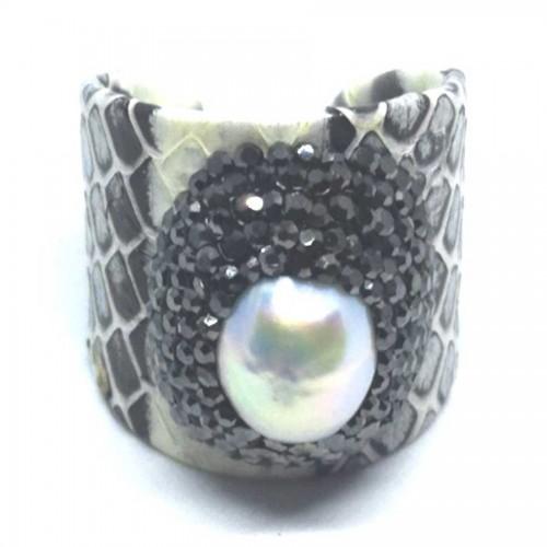 Δαχτυλίδι Δέρμα με Μαργαριτάρι Αυξομειούμενο