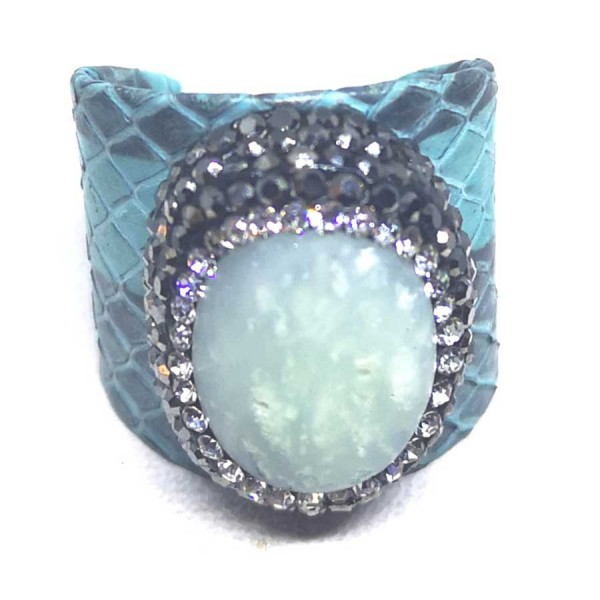 Δαχτυλίδι  Γαλάζιο Δέρμα με Ημιπολύτιμη Πέτρα Αχάτη Αυξομειούμενο