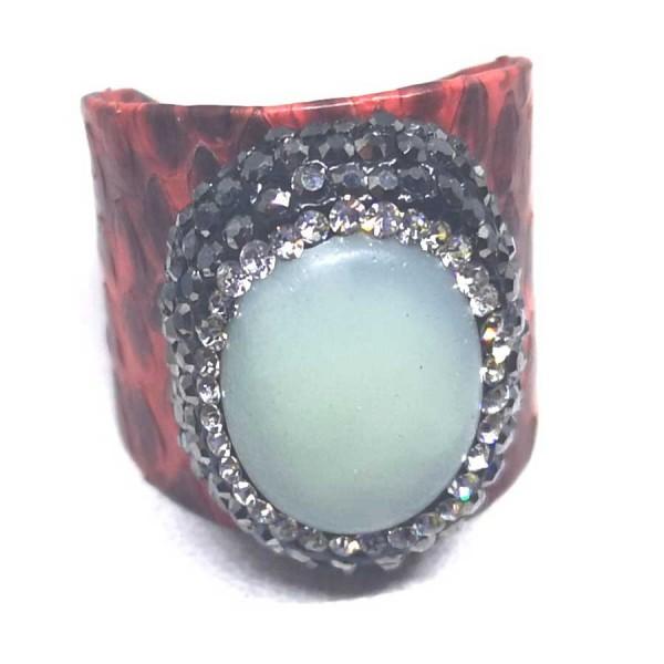 Δαχτυλίδι Σκούρο Κόκκινο Δέρμα με Ημιπολύτιμη Πέτρα Αχάτη Αυξομειούμενο