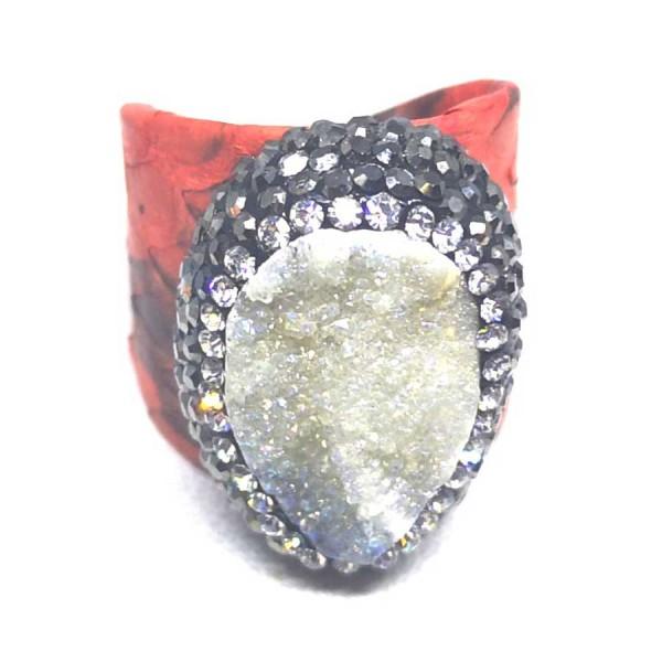 Δαχτυλίδι Κόκκινο Δέρμα με Ημιπολύτιμη Πέτρα Αχάτη Αυξομειούμενο