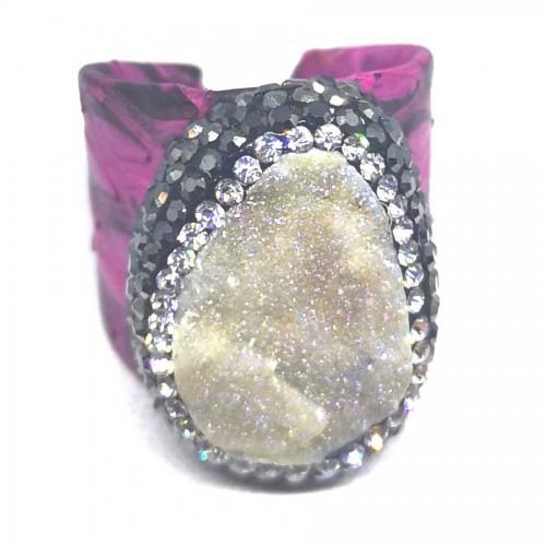 Δαχτυλίδι Ροζ Δέρμα με Ημιπολύτιμη Πέτρα Αχάτη Αυξομειούμενο