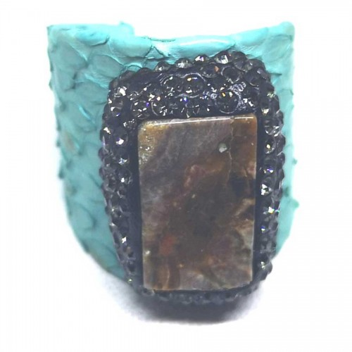 Δαχτυλίδι  Τιρκουάζ Δέρμα με Ημιπολύτιμη Πέτρα Αχάτη Αυξομειούμενο