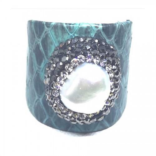 Δαχτυλίδι Γαλάζιο Δέρμα με Μαργαριτάρι Αυξομειούμενο