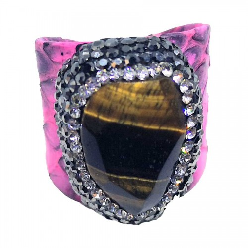 Δαχτυλίδι Ροζ Δέρμα με Ημιπολύτιμη Πέτρα Μάτι Τίγρης Αυξομειούμενο