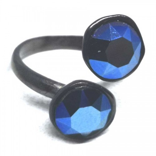 Δαχτυλίδι ορείχαλκος με μαύρη επιμετάλλωση και Swarovski μπλε μεταλλικό
