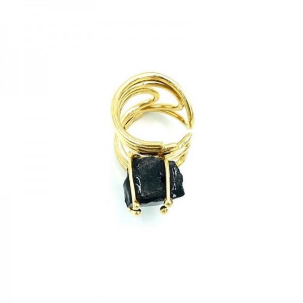 Katerina Vassou Χειροποίητο δαχτυλίδι με σύρματα και μαύρο Αχάτη