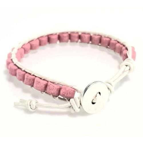 Βραχιόλι Χειροποίητο Δέρμα Λευκό Κεραμικές Πέτρες Ροζ