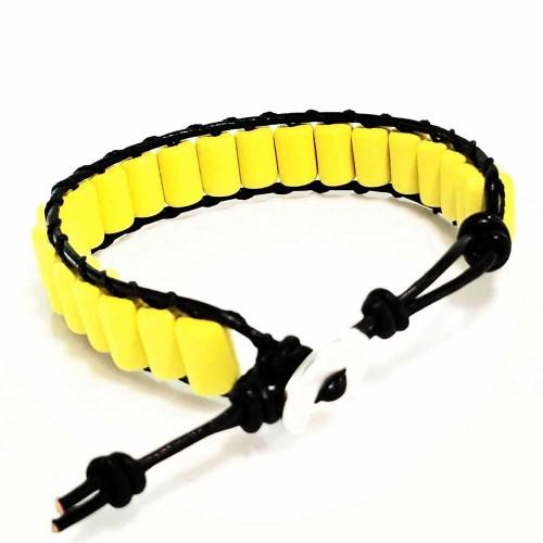 Βραχιόλι Χειροποίητο Δέρμα Μαύρο Κεραμικό Σωληνάκι Κίτρινο