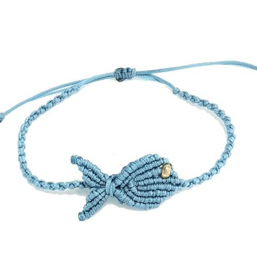 Βραχιόλι Χειροποίητο Μακραμέ Ψάρι Γαλάζιο