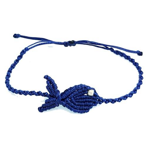 Βραχιόλι Χειροποίητο Μακραμέ Ψάρι Μπλε Ηλεκτρίκ