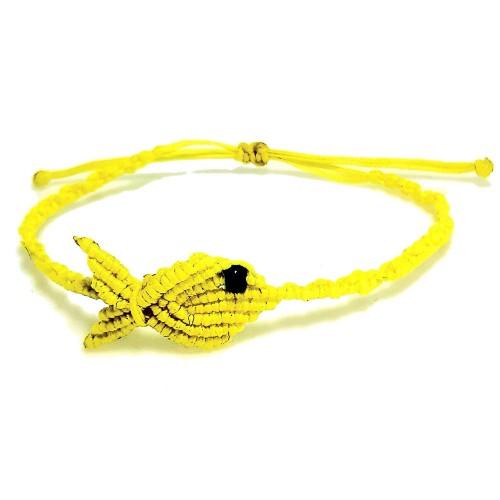 Βραχιόλι Χειροποίητο Μακραμέ Ψάρι Κίτρινο