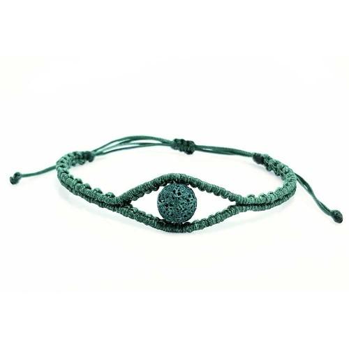 Βραχιόλι Χειροποίητο Μακραμέ πράσινο μάτι και λάβα