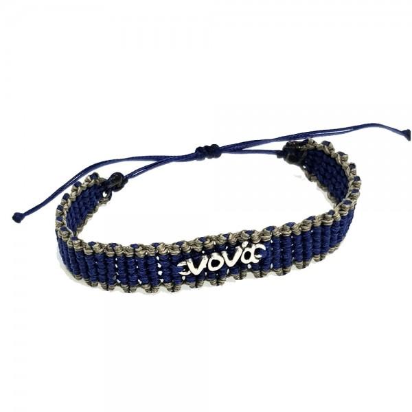 Βραχιόλι Χειροποίητο Μακραμέ «νονά» μπλε ηλεκτρίκ-χακί