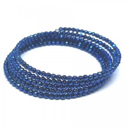 Χειροποίητο Βραχιόλι Aιματίτη ταγιέ μπλε μεταλλικό 5 σειρές
