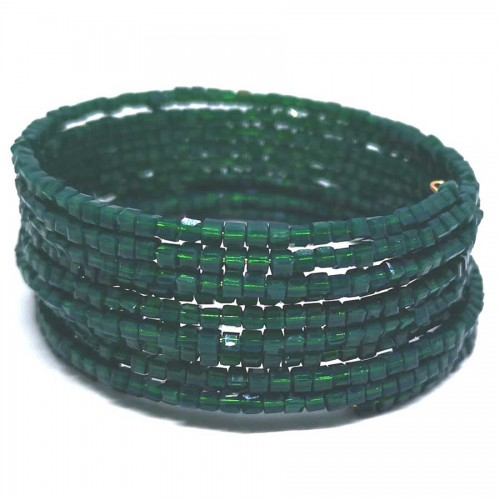 Χειροποίητο Βραχιόλι memory-wire με Πράσινο Σκούρο Κρυσταλλάκι 9 σειρές