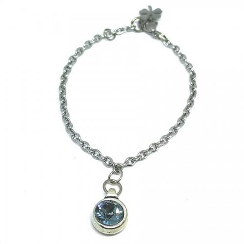 Βραχιόλι από ατσάλινη αλυσίδα και πέτρα Swarovski σε γαλάζιο ανοιχτό