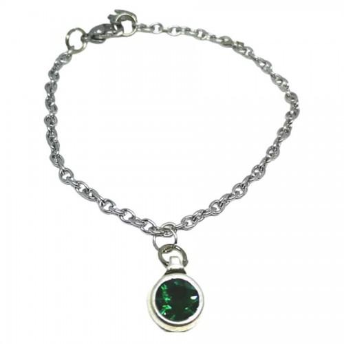 Βραχιόλι από ατσάλινη αλυσίδα και πέτρα Swarovski σε πράσινο σμαραγδί
