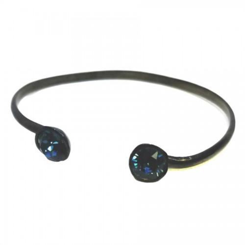 Βραχιόλι Χειροπέδα Μαύρη ανοιγόμενη με Swarovski Σκούρο Μπλε